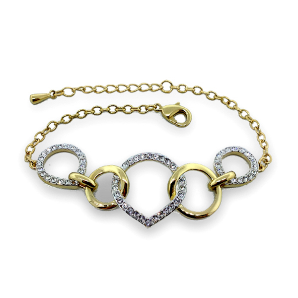 Two Tone Crystal Loops Bracelet