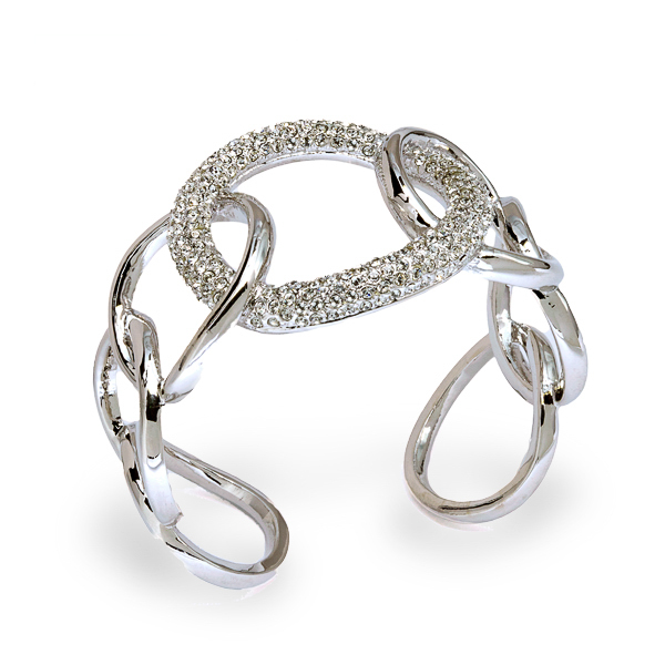 Rhodium Crystal Loops Open Bracelet
