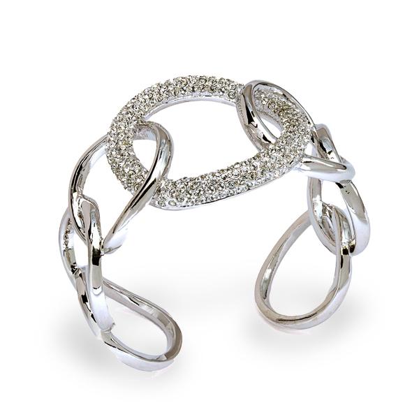 Rhodium Crystal Loops Open Bracelet