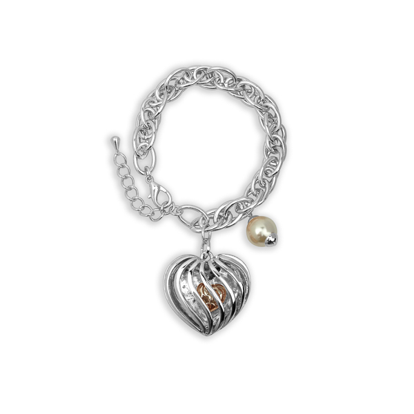 Rhodium Plated Heart and Pearl Charm Bracelet