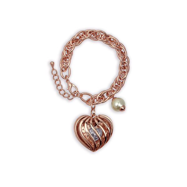 Rose Gold Plated Heart and Pearl Charm Bracelet