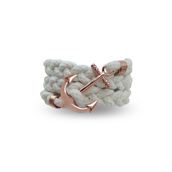 Rose Gold Color Anchor and White Wrap Bracelet
