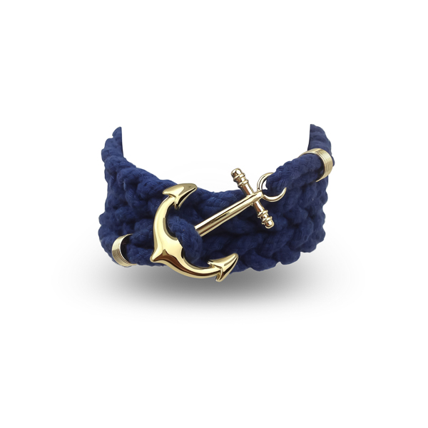 Gold Color Anchor and Navy Wrap Bracelet