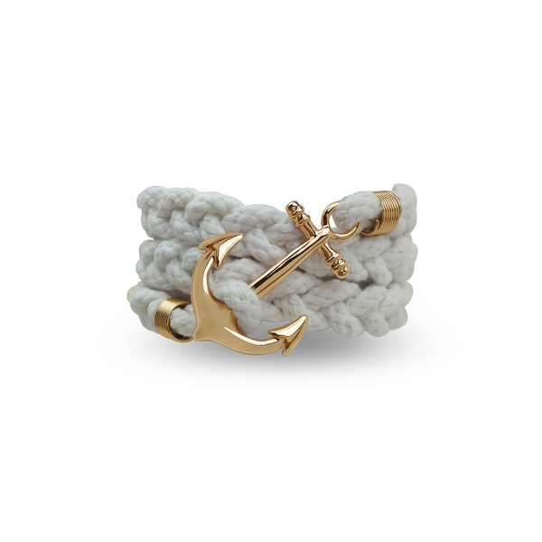 Gold Color Anchor and White Wrap Bracelet