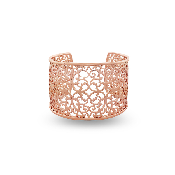 Rose Gold Filigree Open Bracelet