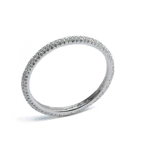 Rhodium Plated Crystal Bangle Bracelet