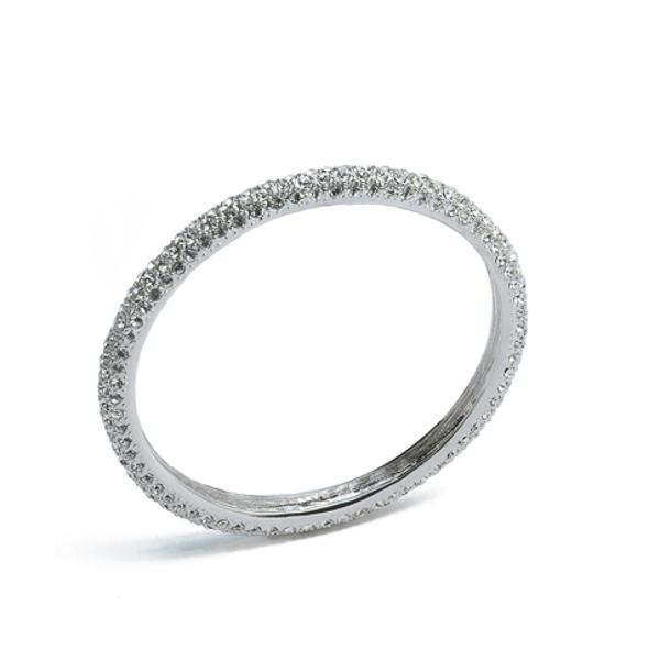 Rhodium Plated Crystal Bangle Bracelet