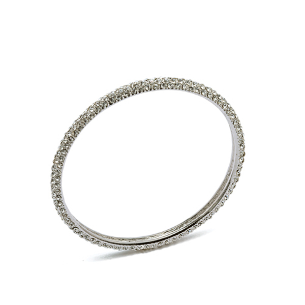 Rhodium Plated 3 Row Crystal Bangle Bracelet