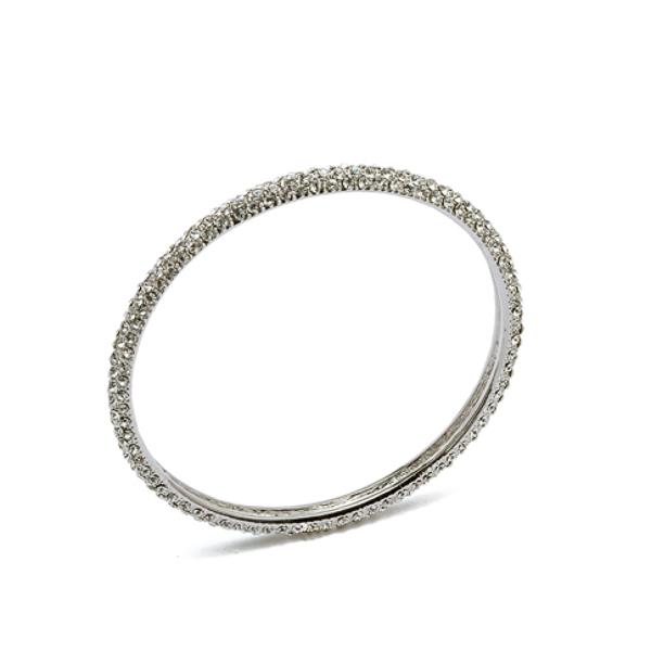 Rhodium Plated 3 Row Crystal Bangle Bracelet