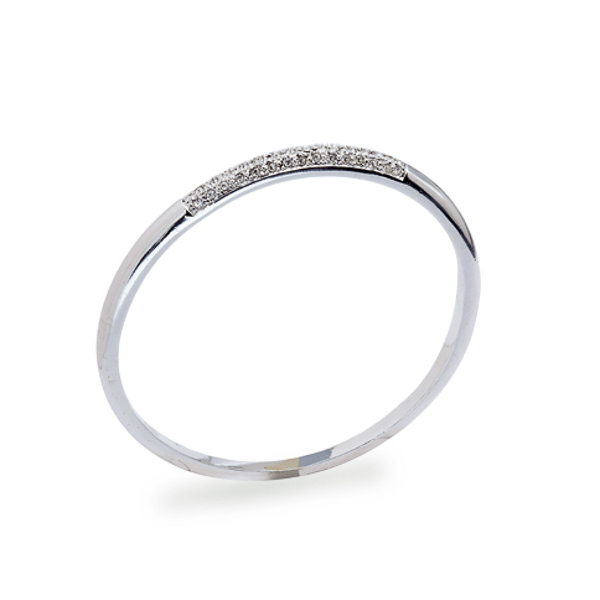 Rhodium Plated Crystal Bangle
