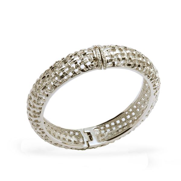 Rhodium Plated Knotted Bangle Bracelet