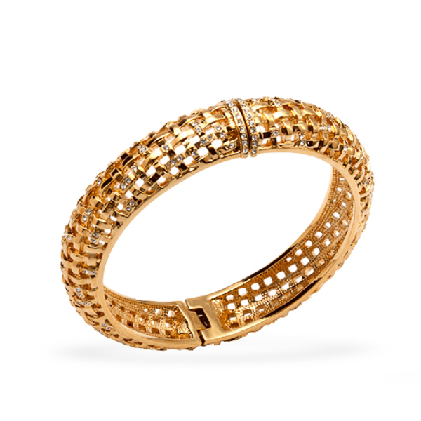 14K Gold Plated Knotted Bangle Bracelet