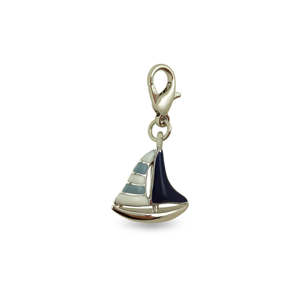 Rhodium Plated Boat Charm