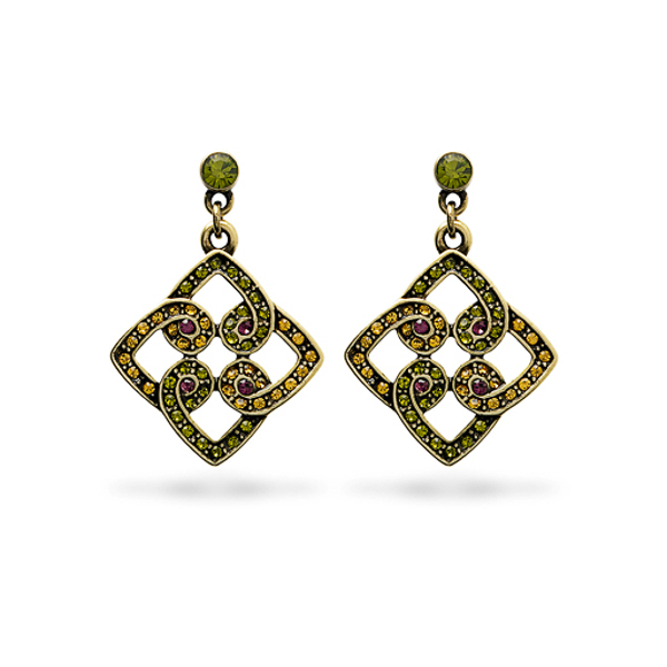 Oxidized Bronze Plated Multiple Color Crystal Earring