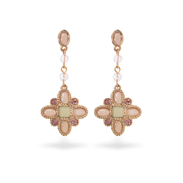 Rose Gold Plated Pink Resin and Crystal Earrings