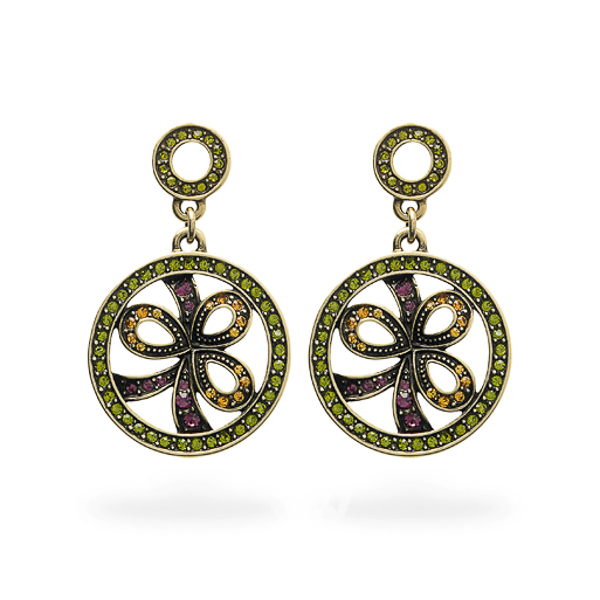 Oxidized Bronze Plated Multiple Color Crystal Round Earrings