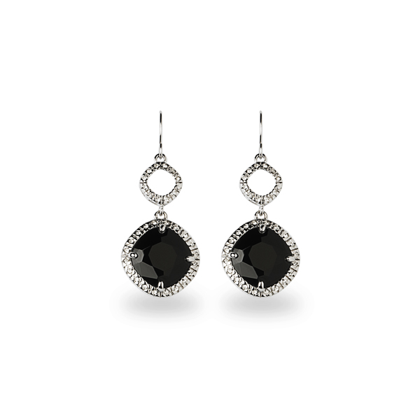 Rhodium Plated Square Black Glass Stone Earrings