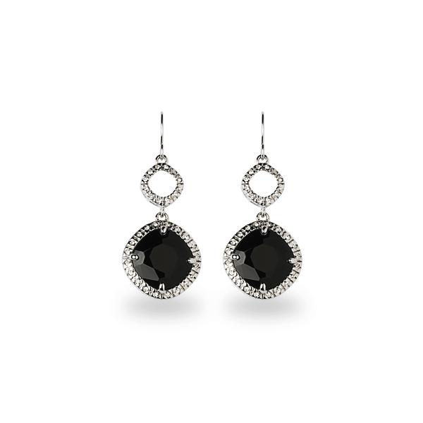 Rhodium Plated Square Black Glass Stone Earrings