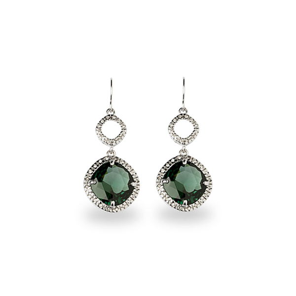 Rhodium Plated Green Square Glass Stone Earrings