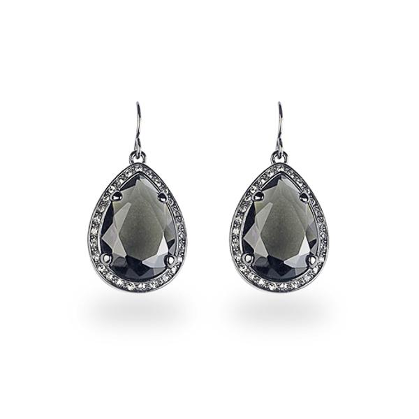 Black Rhodium Plated Black Tear Glass Stone Earring