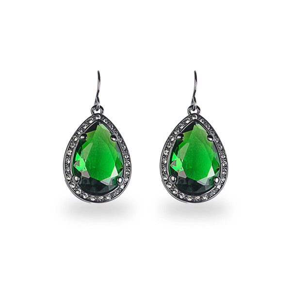 Black Rhodium Plated Green Tear Glass Stone Earring