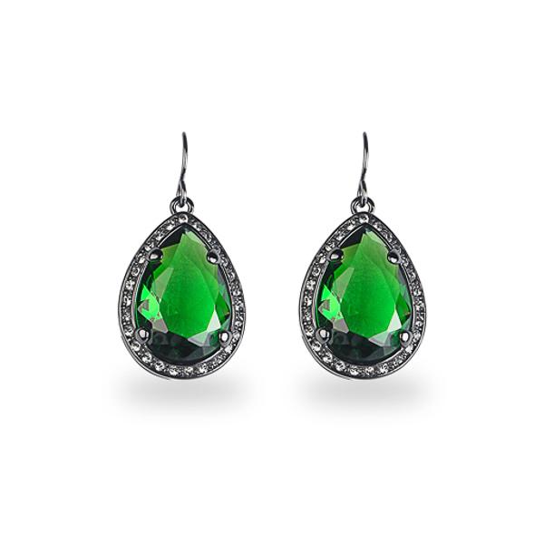 Black Rhodium Plated Green Tear Glass Stone Earring