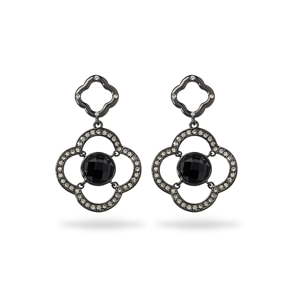Black Rhodium Plated Black Center Stone Earring