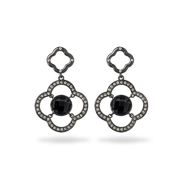 Black Rhodium Plated Black Center Stone Earring