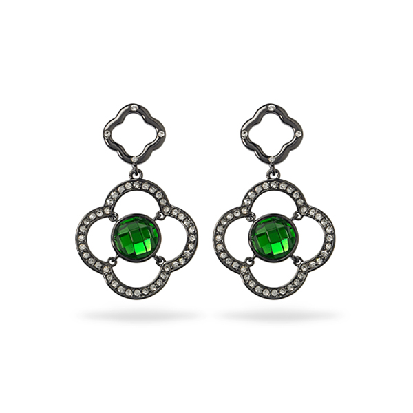 Black Rhodium Plated Green Center Glass Stone Earring