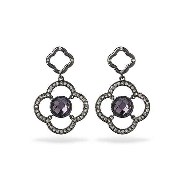 Black Rhodium Plated Purple Center Glass Stone Earring