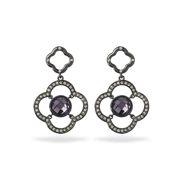 Black Rhodium Plated Purple Center Glass Stone Earring