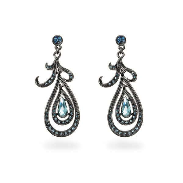 Black Rhodium Plated Blue Stone Tear Design Earring