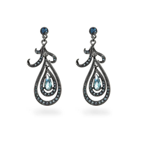 Black Rhodium Plated Blue Stone Tear Design Earring
