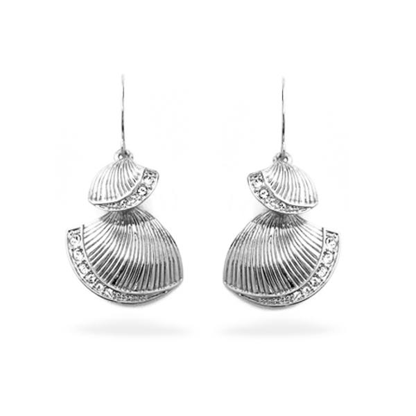 Rhodium Plated Sea Shell Earrings