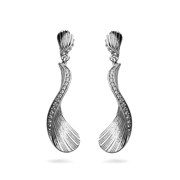 Rhodium Plated Ocean Earrings