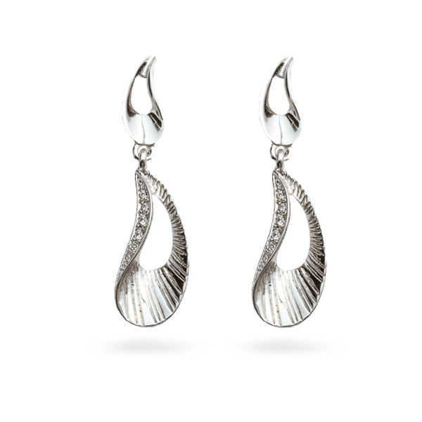 Rhodium Plated Crystal Ocean Earrings