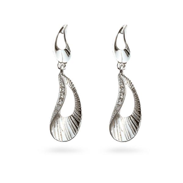 Rhodium Plated Crystal Ocean Earrings