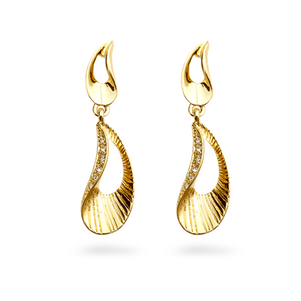 14K Gold Plated Crystal Ocean Earrings