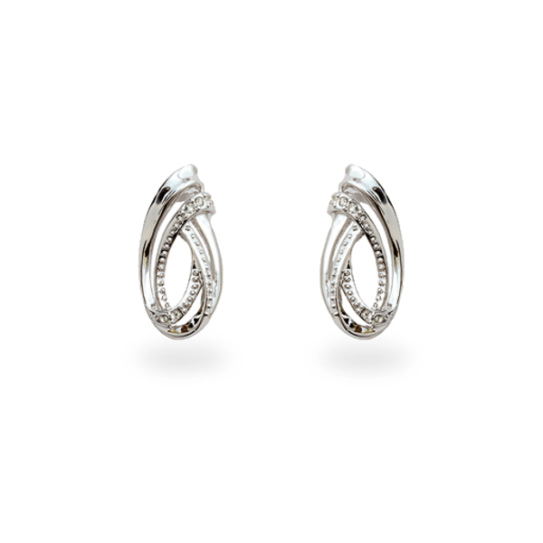 Rhodium Plated Small Swirl Earrings