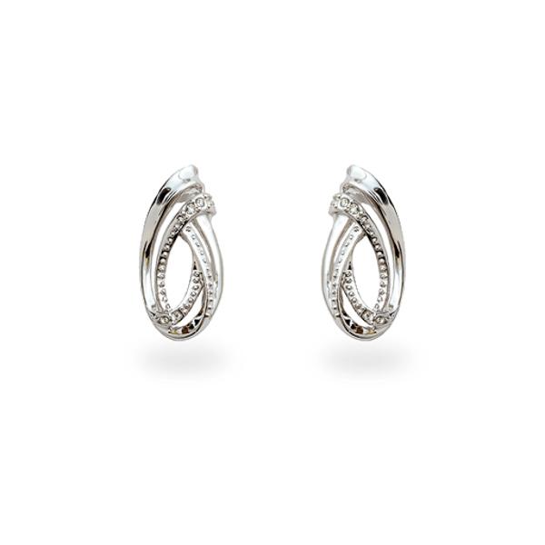 Rhodium Plated Small Swirl Earrings