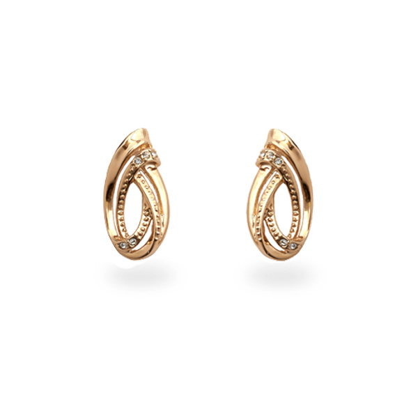 Rose Gold Plated Small Swirl Earrings
