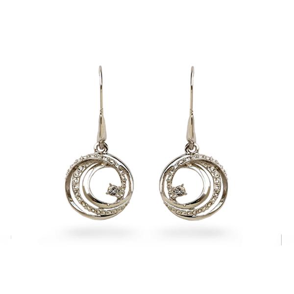 Rhodium Plated Crystal Loops Earrings
