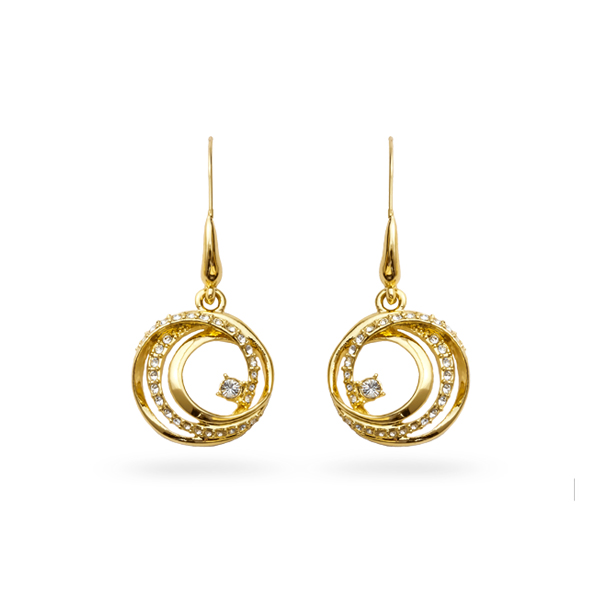 14K Gold Plated Crystal Loops Earring