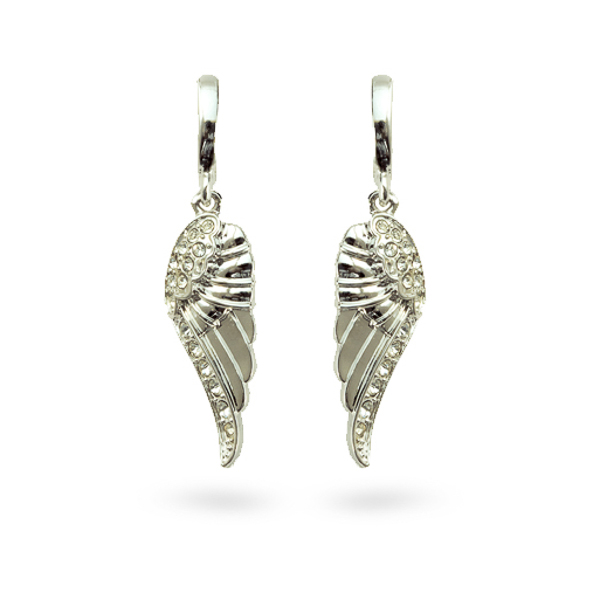 Rhodium Plated Crystal Wings Earrings