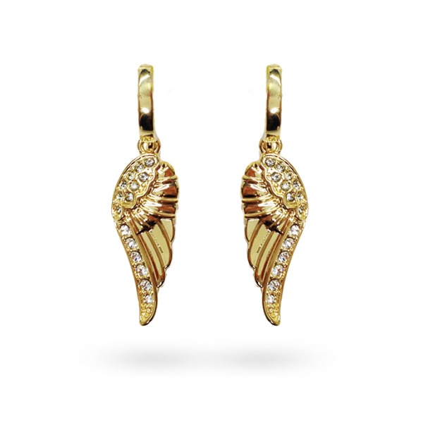 14K Gold Plated Crystal Wings Earrings