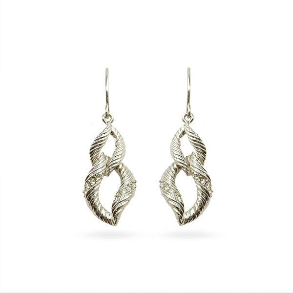 Rhodium Plated Double Loop Earrings