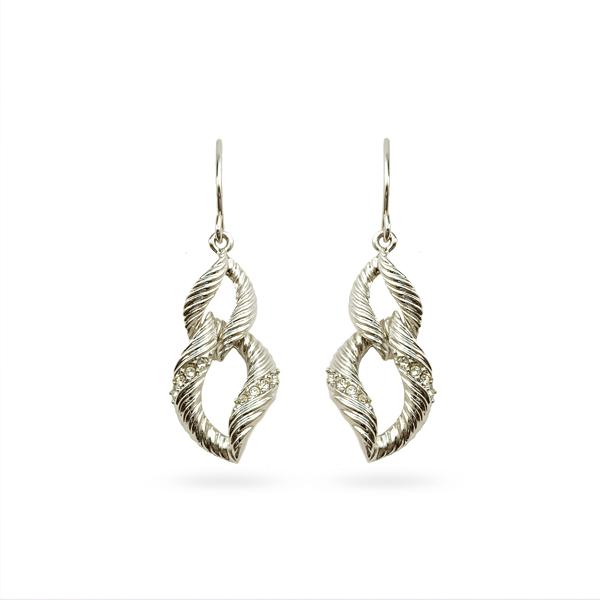 Rhodium Plated Double Loop Earrings