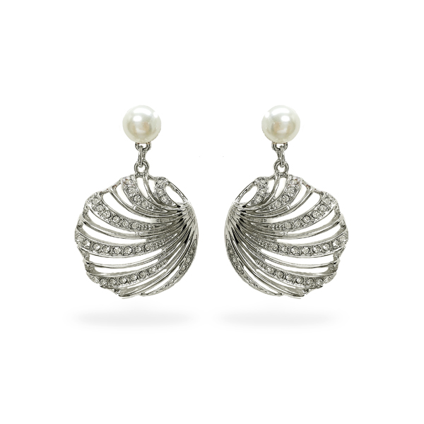 Rhodium Plated Open Sea Shell Crystal Earrings