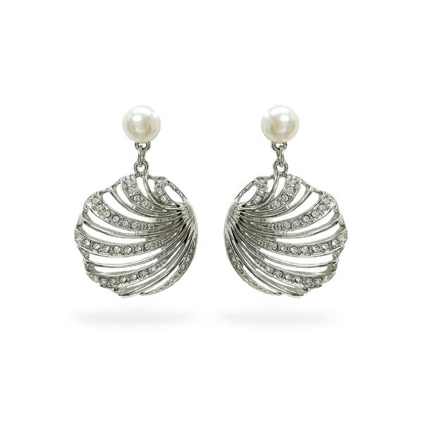 Rhodium Plated Open Sea Shell Crystal Earrings