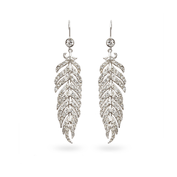 Rhodium Plated Feather Crystal Drop Earrings